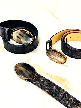 Imagen de Cinto de Guampa y Cuero Negro Craquelado Oval