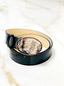 Imagen de Cinto de Guampa y Cuero Negro Charol Oval