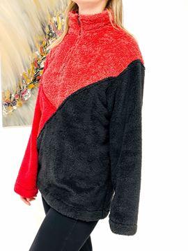 Imagen de Buzo Finnigan Negro Rojo y Rosa